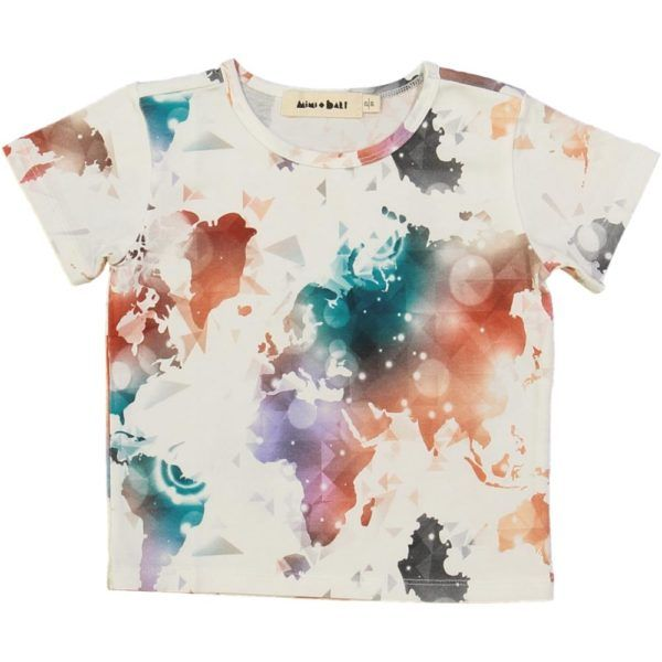 organic cotton short sleeved t-shirt with colourful world map print