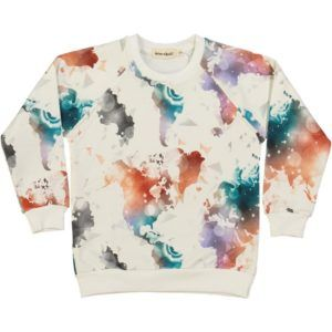 organic cotton kids sweater with colourful world map print
