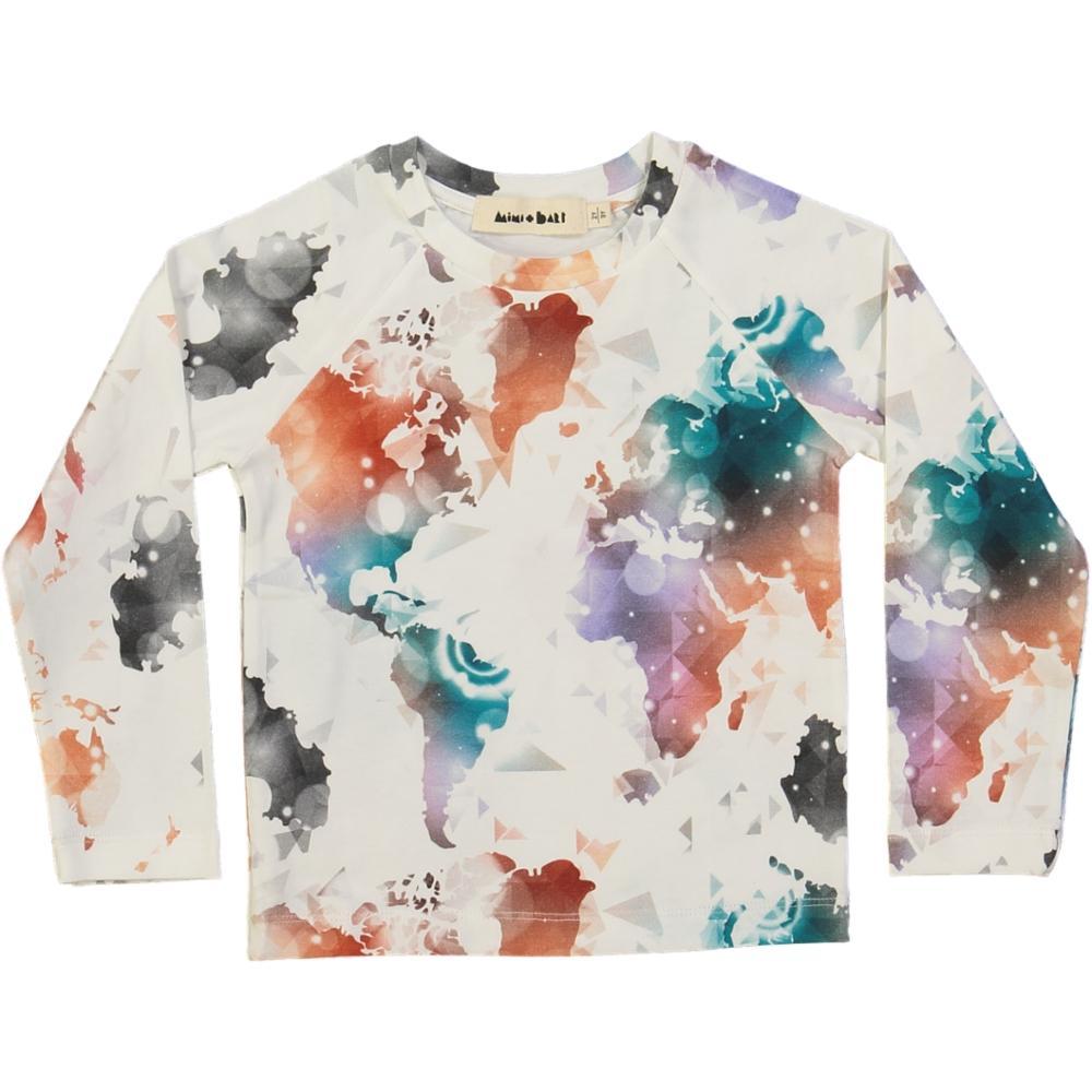 long-sleeved kids t-shirt, organic_cotton, world map print