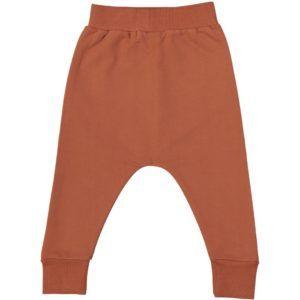 kids long trousers, certified organic cotton, terracotta colour