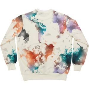 organic cotton adult sweater with colourful world map  print