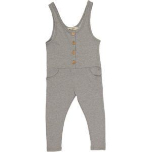 kids gray playsuit with wood buttons,  organic cotton