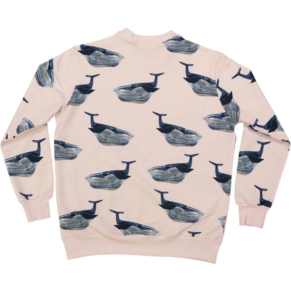 organic cotton adult sweater with whale print