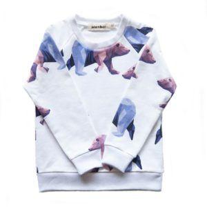 organic cotton kids sweater with icebear print