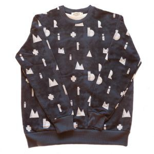adult dark blue sweater with white logo print, organic cotton