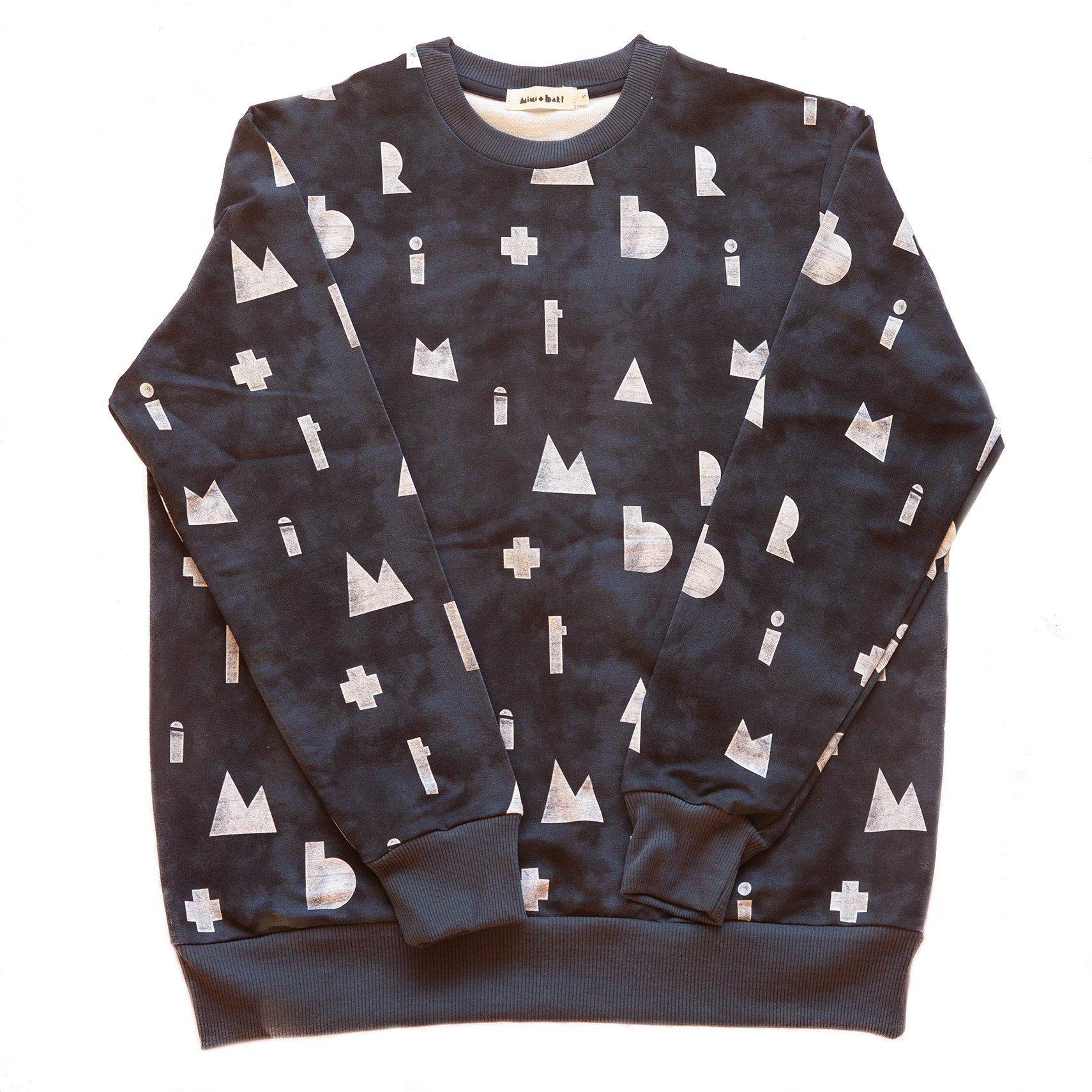 adult dark blue sweater with white logo print, organic cotton