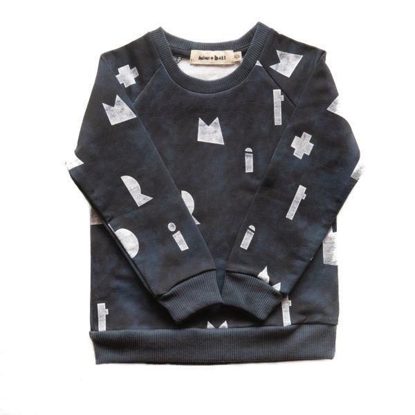 kids dark blue sweater with white logo print