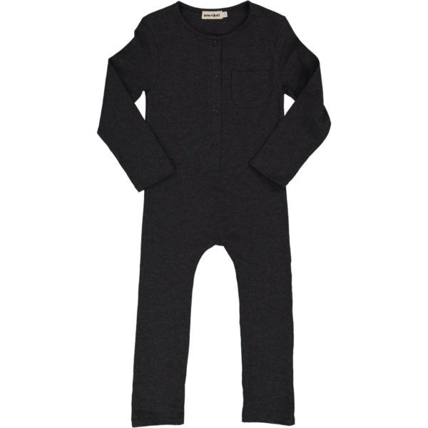 long sleeved kids playsuit, organic cotton, anthracite colour