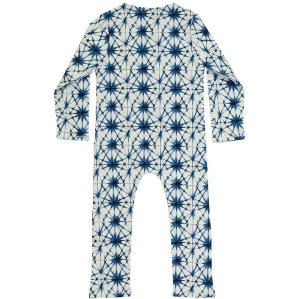 long sleeved kids playsuit, organic cotton, with ice crystal print