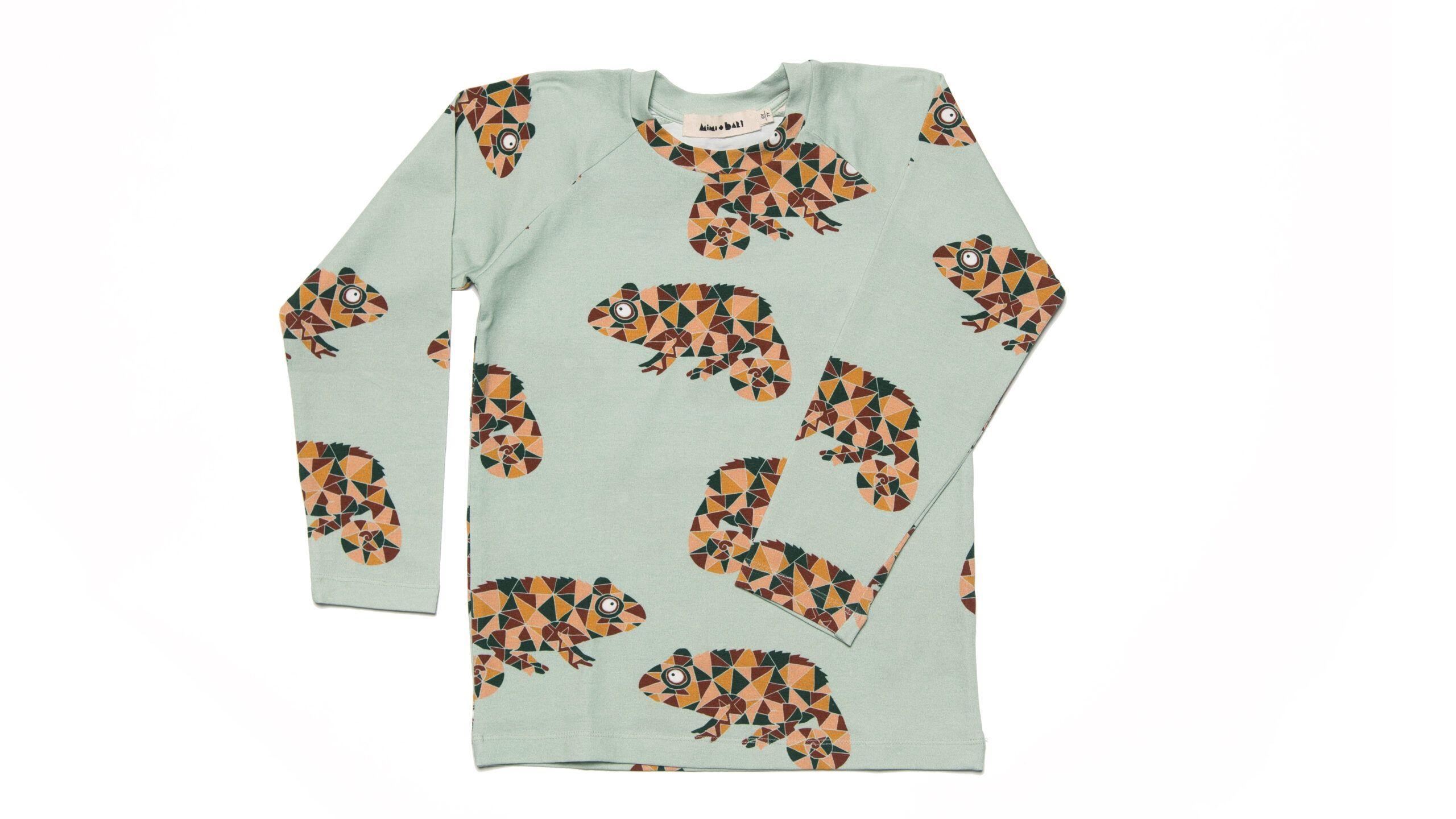 Long Sleeved T-Schirt for kids with chameleons